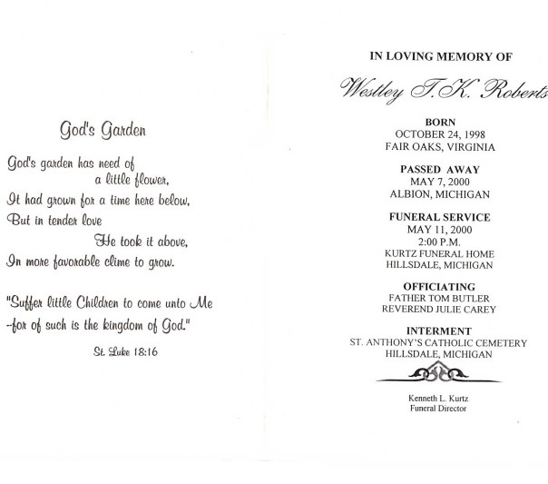 This is the pamphlet from his funeral.