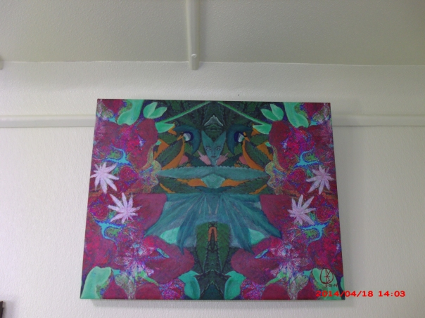 "The title is: ""the marriage of azaela flowers and cannabis leaves"" if you look up the symbolism of the azaela, you will find it stands for feminine self care. This goddess image symbolizes the marriage of feminine self care with the cannabis plant as a medicine. The energy of self care and the compounds of the cannabis plant come together to provide a synergistic healing to the person in question... to be shown in michelle lamay's cannabis history museum. This is the first painting that I as the artist call one of my masterpieces. Thank you Michelle for giving me a chance to show it. https://www.facebook.com/photo.php?fbid=782772988409379&set=pb.100000300558421.-2207520000.1398456073.&type=3&src=https%3A%2F%2Ffbcdn-sphotos-g-a.akamaihd.net%2Fhphotos-ak-prn2%2Ft1.0-9%2F1503218_782772988409379_7023335663112254261_n.jpg&size=960%2C720"